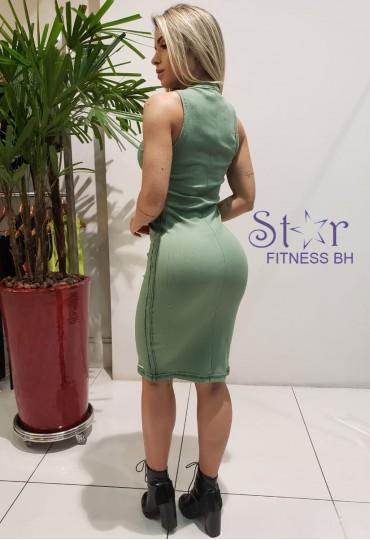 Vestido Canelado Midi Green  Colcci