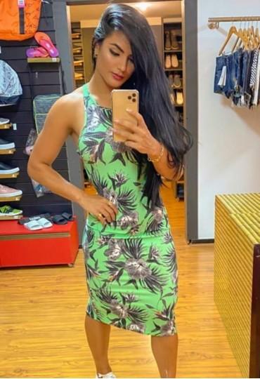 Vestido Canelado Florest Green Midi Colcci