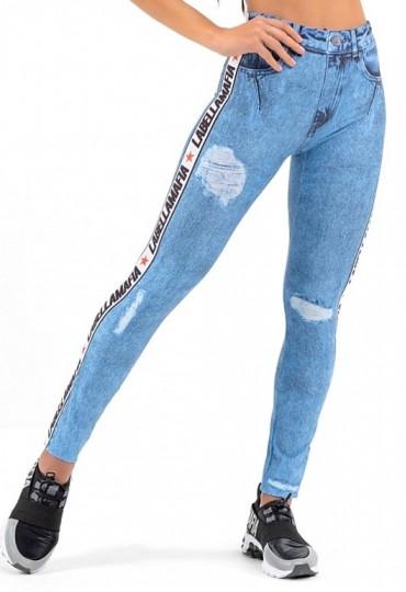 Legging Full Print Jeans Fake Azul