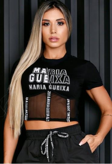 Blusa Corpete Recorte Tule Maria Gueixa