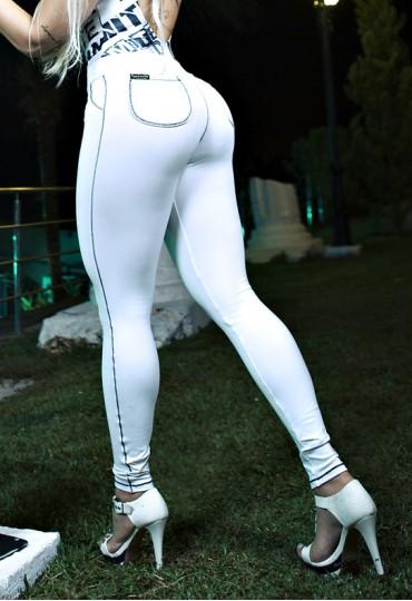 Legging Branca com bolso redondo