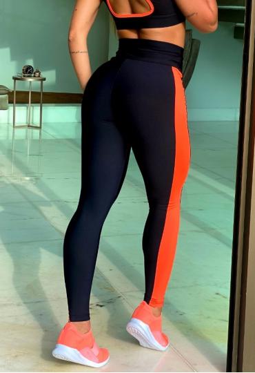 Legging Fusô Confort Preto Com Laranja Neon