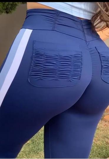 Legging Azul Marinho Faixa Branca