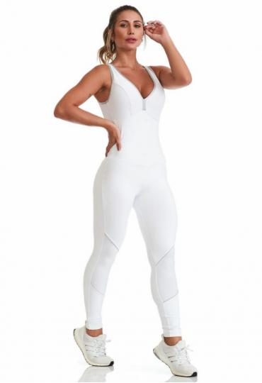 Macacão Branco Costura Prata