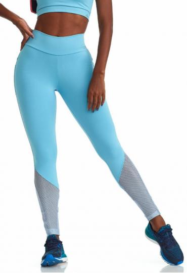 Legging Azul com Detalhe Metálico